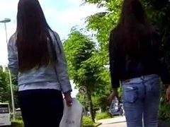2 Candid Teen Jeans ass