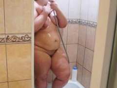 Russian bbw taking a shower. hidden camera