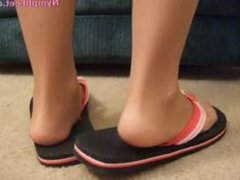 Flip flop tease with nylons