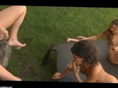 Teen Petite Poolside Lesbian Orgy in Quebec with Cute Angie and Jamie James