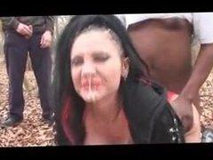 British cum whore in the woods