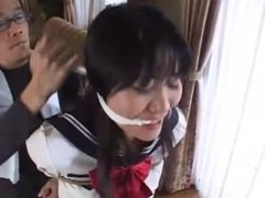 Japanese schoolgirl crying in tight bondage and gagged