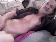 whew,Huge cock cums on the couch