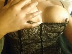 sexy oily nipple gets stuck on clamp