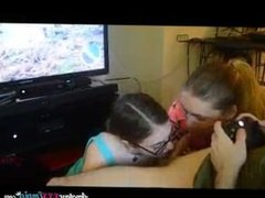 Blowjob from two girls while playing video games what can be better