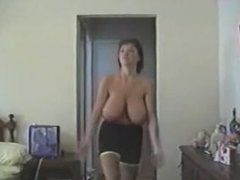 Milf big boobs exercise in the room