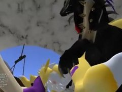 Renamon in Makelove with a black draconians in club