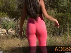 Teen goddess in pink tights with delicious cameltoe