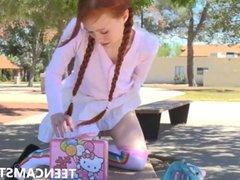 Skinny white redhead teen masterbaiting park