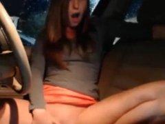 Girl masturbate in car
