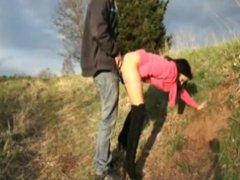 German girl get fuckt outdoor and  get creampied