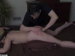 wife submissive tied on bed and husband spank