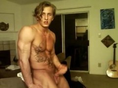 muscular dude plays with his huge cock(no cum)