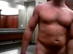 Hunk jerking in the locker room