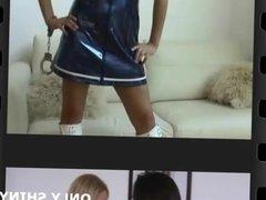 Renee teasing in tight shiny PVC lingerie