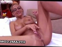 Blonde beauty babe toying weet pussy At home