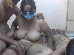 Desi threesome on cam