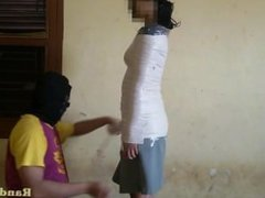 Indonesian Girl in Schoolgirl Cosplay and get Mummification at home