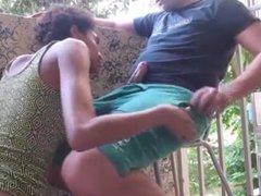 Sexy wife fuck on the balcony