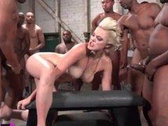 Jenna Ivory gets ebony anal gangbang & cums