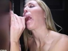 Petite Blonde Sucking At The Glory Hole