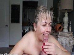 Busty mature wife sucks a big fat cock