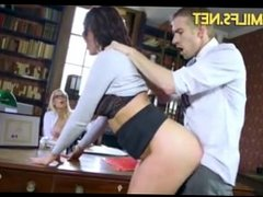 Principle and schoolgirl Emma Leigh and Rebecca More threesome fucked HD