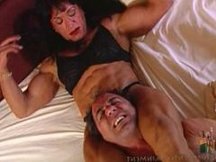 Fantasy mixed-wrestling in bed with Robin Parker