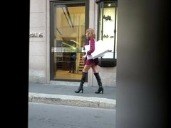 Uptown Cougar in very Short Dress and CFM Boots