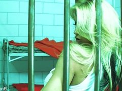 Prisoner Brooke plays with her tight pussy