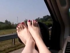 Sexy barefoot car ride