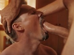 Pulsing cock shooting down throat