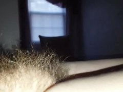 looking at her hairy pussy, nipple, she rubsher own pubes