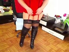 MILF in red lingerie and high boots