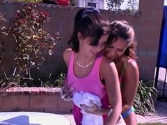 Two playful girls wash the car and give skull job
