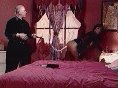 Brunette gets hoses up her ass