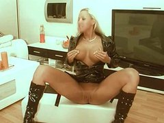 Sexy german blonde plays with herself