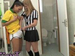 Ebony girl male teen Brazilian player plumbing the referee
