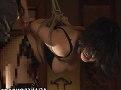 Two Asian sluts hanging on ropes as they are