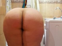 plump woman pees in a pose cancer
