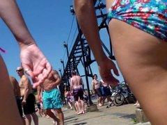 Candid Beach Bikini Ass Butt West Michigan Booty Fishing
