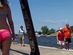 Candid Beach Bikini Ass Butt West Michigan Booty Pink