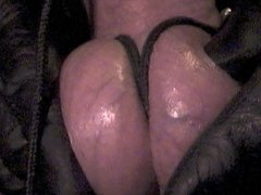 CBT: Shaved cock tied, double insertions, cum