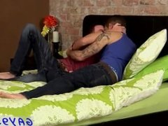 Short black haired white teen gay anal sex Adam and Dan waste no time