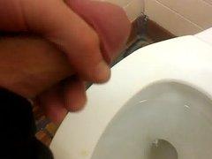 Slowmo cum on toilet at McDonald's
