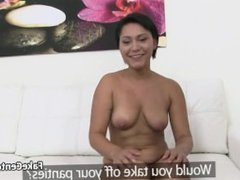 Nervous bruntte amateur fucks on casting couch