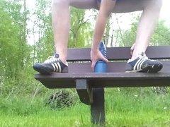 Brutal anal dildo on a park bench