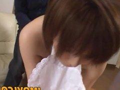 Rio Kurusu sexy Asian maid sucks cock