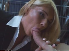 Blonde chick with a hard pole in her pussy