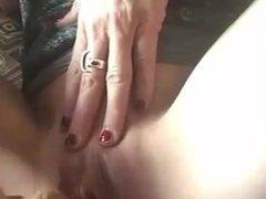 Creamy dildo masturbation